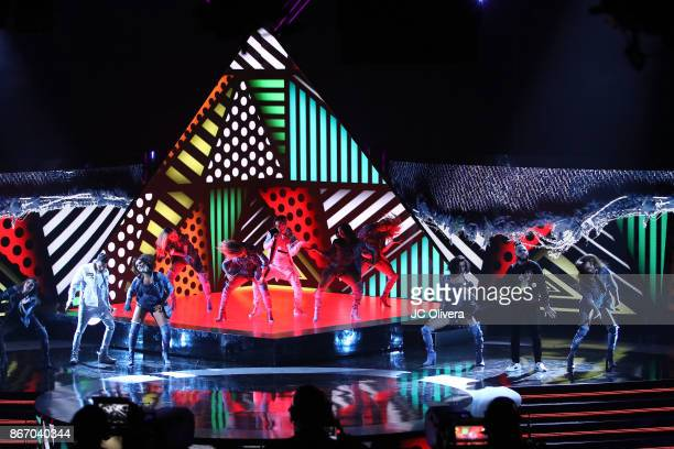 Recording artists Christian Daniel Abraham Mateo and Farruko perform onstage during the 2017 Latin American Music Awards at Dolby Theatre on October...