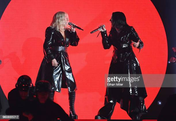 Recording artists Christina Aguilera and Demi Lovato perform onstage during the 2018 Billboard Music Awards at MGM Grand Garden Arena on May 20 2018...