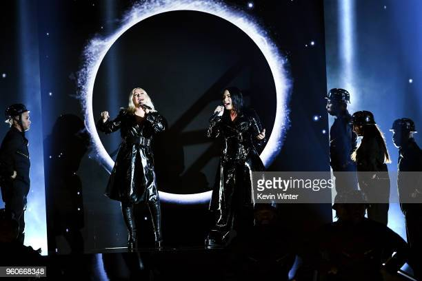 Recording artists Christina Aguilera and Demi Lovato preform onstage during the 2018 Billboard Music Awards at MGM Grand Garden Arena on May 20 2018...