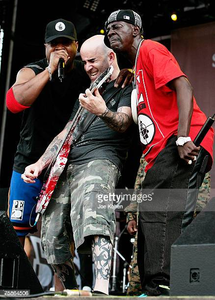 Recording artists Chuck D and Flavor Flav of the Hip Hop group Public Enemy joined by guitarist Scott Ian of Anthrax perform during the 2007 Rock The...