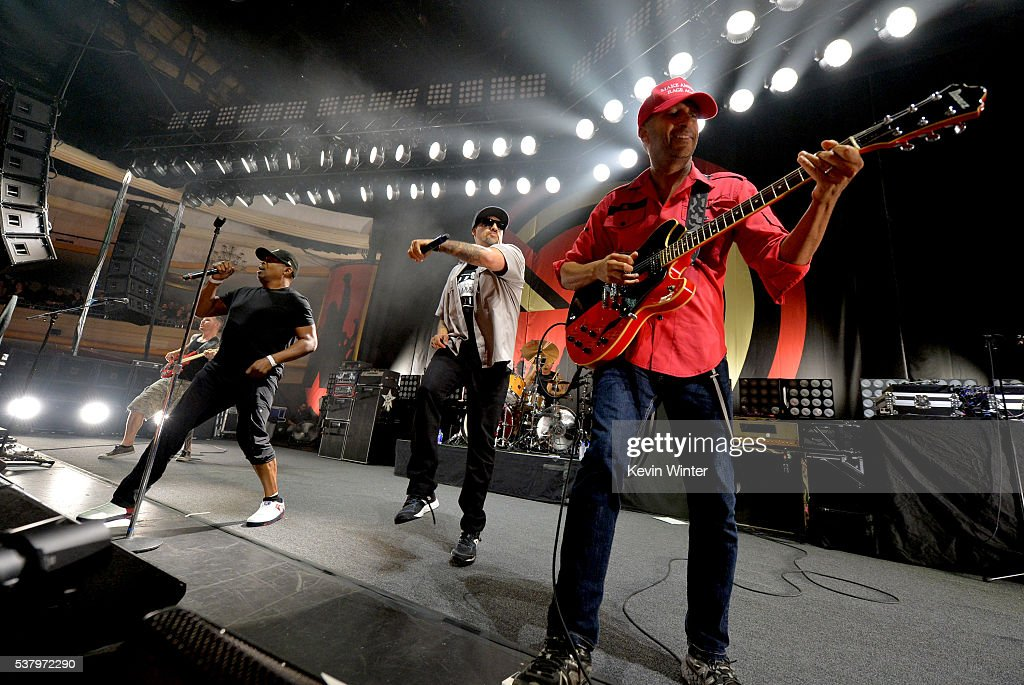 Recording artists Chuck D, B-Real and Tom Morello of Prophets of Rage perform onstage at Hollywood Palladium on June 3, 2016 in Los Angeles, California.