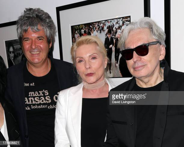 Recording artists Clem Burke Debbie Harry and Chris Stein of Blondie attend the 'Hell in The City of Angels Chris Stein' photo exhibition opening at...