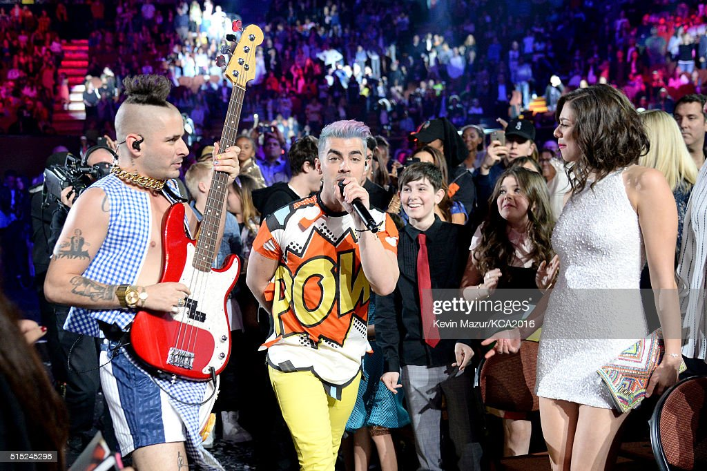 Recording artists Cole Whittle (L) and Joe Jonas of music group DNCE perform during Nickelodeon's 2016 Kids' Choice Awards at The Forum on March 12, 2016 in Inglewood, California.