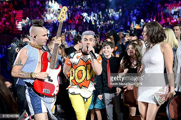 Recording artists Cole Whittle and Joe Jonas of music group DNCE perform during Nickelodeon's 2016 Kids' Choice Awards at The Forum on March 12 2016...