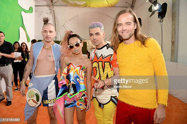 Recording artists Cole Whittle JinJoo Lee Joe Jonas and Jack Lawless of music group DNCE attend Nickelodeon's 2016 Kids' Choice Awards at The Forum...