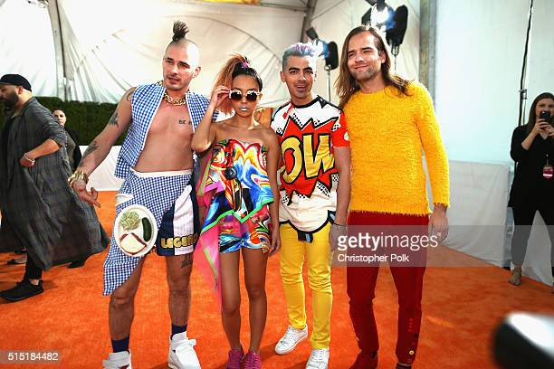 Recording artists Cole Whittle JinJoo Lee Joe Jonas and Jack Lawless of DNCE attend Nickelodeon's 2016 Kids' Choice Awards at The Forum on March 12...