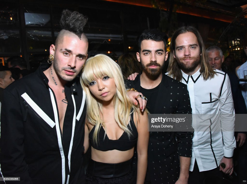 Recording artists Cole Whittle, Jinjoo Lee, Joe Jonas, and Jack Lawless of DNCE at a celebration of music with Republic Records, in partnership with Absolut and Pryma, at Catch LA on February 12, 2017 in West Hollywood, California.