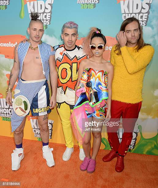 Recording artists Cole Whittle Joe Jonas JinJoo Lee and Jack Lawless of DNCE attend Nickelodeon's 2016 Kids' Choice Awards at The Forum on March 12...