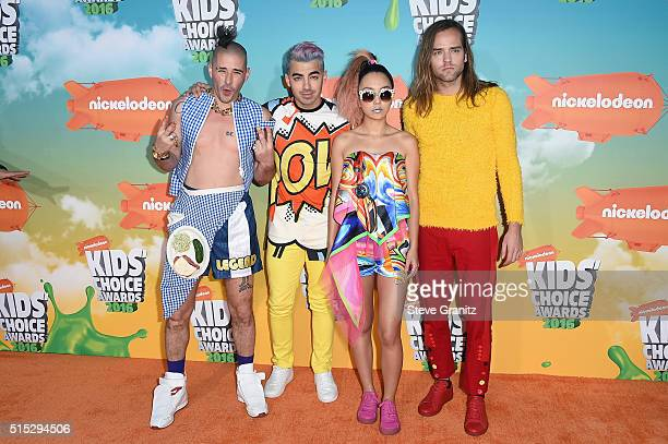 Recording artists Cole Whittle Joe Jonas JinJoo Lee and Jack Lawless of music group DNCE attends Nickelodeon's 2016 Kids' Choice Awards at The Forum...