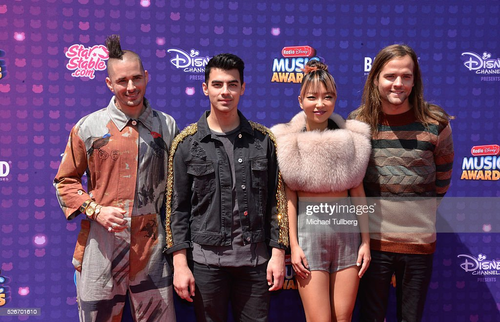 Recording artists Cole Whittle, Joe Jonas, JinJoo Lee, and Jack Lawless of DNCE attend the 2016 Radio Disney Music Awards at Microsoft Theater on April 30, 2016 in Los Angeles, California.