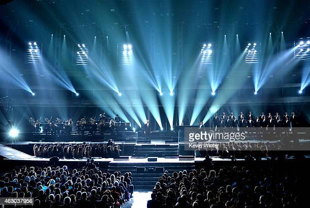 Recording artists Common and John Legend perform onstage during The 57th Annual GRAMMY Awards at the STAPLES Center on February 8 2015 in Los Angeles...