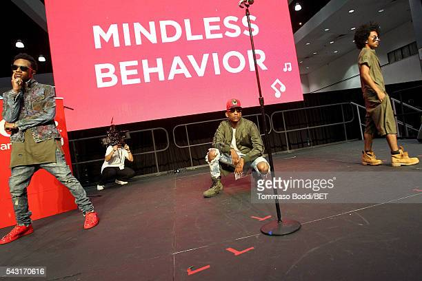 Recording artists Craig Crippen EJ and Princeton of Mindless Behavior perform onstage at the Coke music studio during the 2016 BET Experience on June...