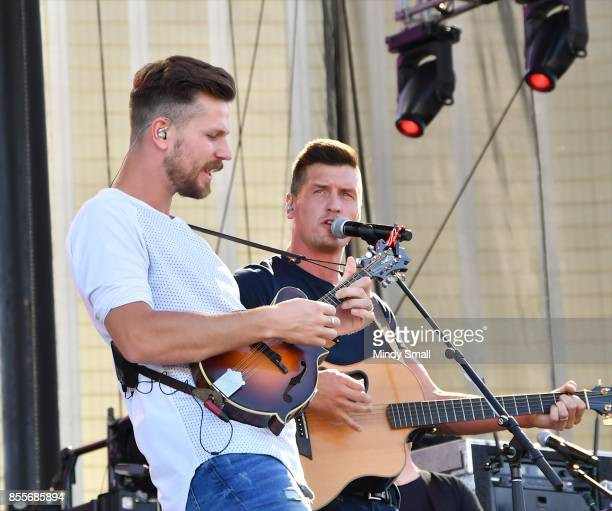 Recording artists Curtis Rempel and Brad Rempel of High Valley perform during the Route 91 Harvest country music festival at the Las Vegas Village on...
