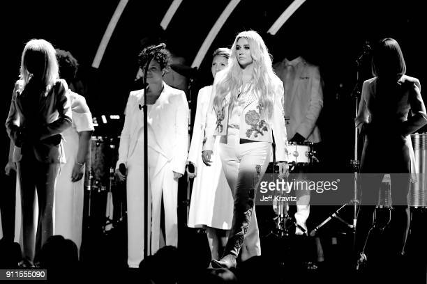 Recording artists Cyndi Lauper Andra Day Camila Cabello Kesha and Julia Michaels perform onstage during the 60th Annual GRAMMY Awards at Madison...