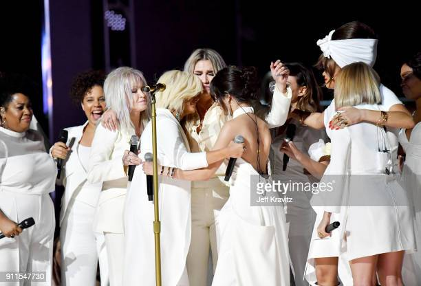 Recording artists Cyndi Lauper Bebe Rexha Kesha Camila Cabello Andra Day and Julia Michaels perform onstage during the 60th Annual GRAMMY Awards at...