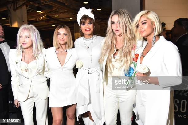 Recording artists Cyndi Lauper Julia Michaels Andra Day Kesha and Bebe Rexha attend the 60th Annual GRAMMY Awards at Madison Square Garden on January...