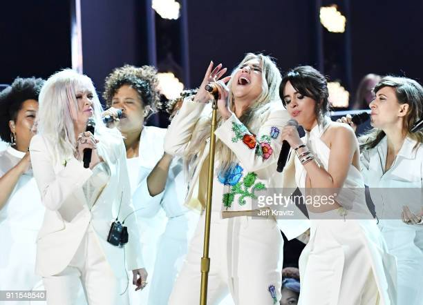 Recording artists Cyndi Lauper Kesha and Camila Cabello perform onstage during the 60th Annual GRAMMY Awards at Madison Square Garden on January 28...