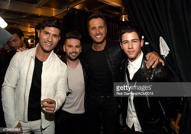 Recording artists Dan Smyers and Shay Mooney of Dan Shay Luke Bryan and Nick Jonas attend the 50th Academy of Country Music Awards at ATT Stadium on...