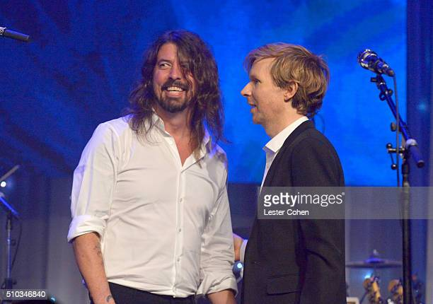 Recording artists Dave Grohl and Beck onstage after performing during the 2016 PreGRAMMY Gala and Salute to Industry Icons honoring Irving Azoff at...