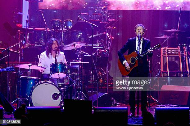 Recording artists Dave Grohl and Beck perform onstage during the 2016 PreGRAMMY Gala and Salute to Industry Icons honoring Irving Azoff at The...