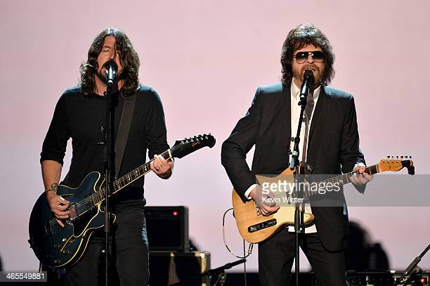 """Recording artists Dave Grohl and Jeff Lynne perform onstage during """"The Night That Changed America: A GRAMMY Salute To The Beatles"""" at the Los..."""