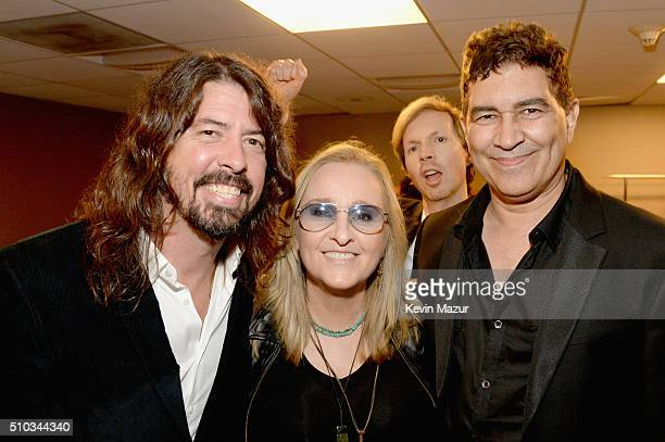 Recording artists Dave Grohl Melissa Etheridge Beck and Pat Smear attend the 2016 PreGRAMMY Gala and Salute to Industry Icons honoring Irving Azoff...