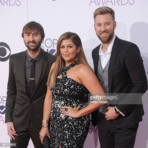 Recording artists Dave Haywood Hillary Scott and Charles Kelley of music group Lady Antebellum arrive at The 41st Annual People's Choice Awards at...