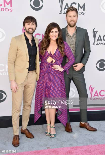 Recording artists Dave Haywood Hillary Scott and Charles Kelley of music group Lady Antebellum attends the 52nd Academy Of Country Music Awards at...