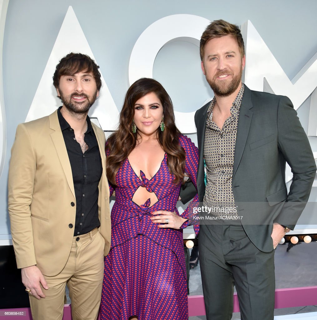 Recording artists Dave Haywood, Hillary Scott, and Charles Kelley of music group Lady Antebellum attend the 52nd Academy Of Country Music Awards at Toshiba Plaza on April 2, 2017 in Las Vegas, Nevada.