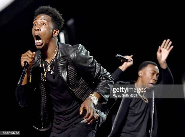 Recording artists Desiigner and Michael Davis perform onstage during the 2016 BET Awards at the Microsoft Theater on June 26 2016 in Los Angeles...