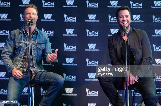 Recording artists Dierks Bentley and Luke Bryan attend the 52nd ACM Awards Host Press Conference and Dice Rollout at TMobile Arena on March 31 2017...