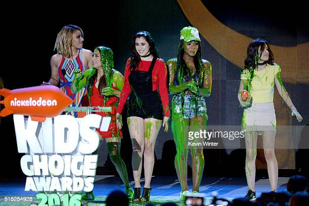 Recording artists DinahJane Hansen Ally Brooke Lauren Jauregui Normani Hamilton and Camila Cabello of music group Fifth Harmony react after getting...