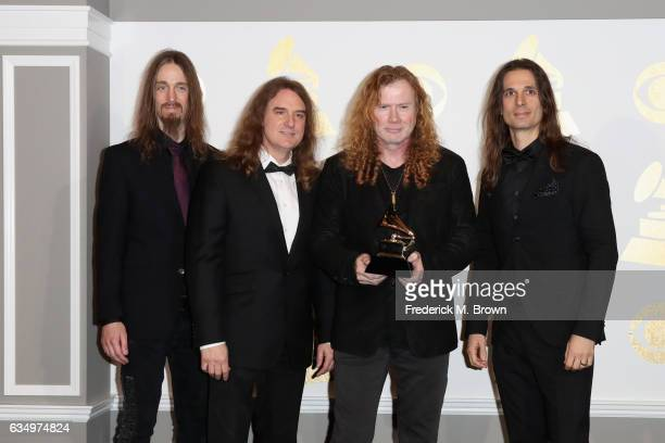 Recording artists Dirk Verbeuren David Ellefson Dave Mustaine and Kiko Loureiro of Megadeth winners of Best Metal Performance for 'Dystopia' pose in...