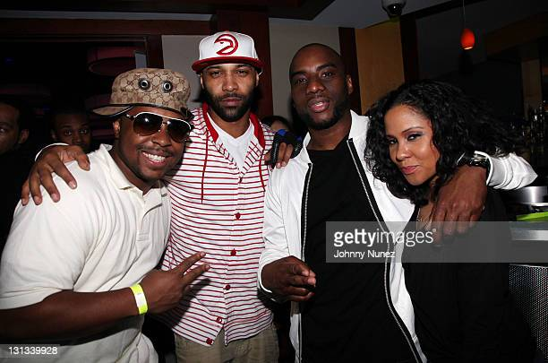 Recording artists DJ Webstar and Joe Budden and radio personalities Charlamagne Tha God and Angela Yee attend Bottles And Strikes Miami Edition...