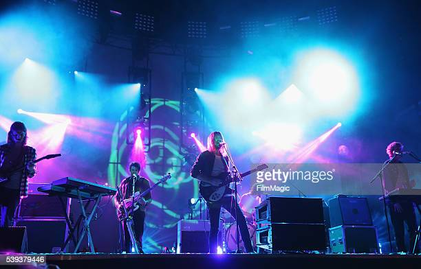 Recording artists Dominic Simper, Cam Avery, Kevin Parker, Julien Barbagallo, and Jay Watson of Tame Impala perform onstage at Which Stage during Day...