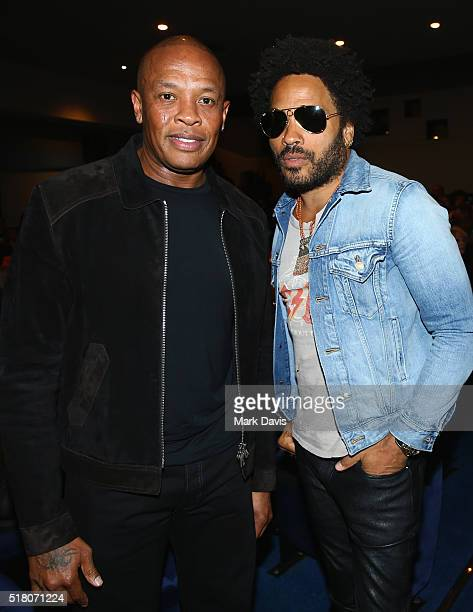 Recording artists Dr Dre and Lenny Kravitz attends the premiere of Sony Pictures Classics' 'Miles Ahead' at Writers Guild Theater on March 29 2016 in...
