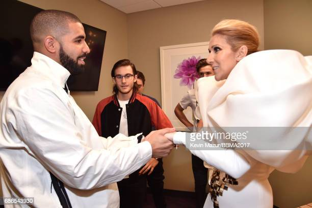 Recording artists Drake and Celine Dion attend the 2017 Billboard Music Awards at TMobile Arena on May 21 2017 in Las Vegas Nevada