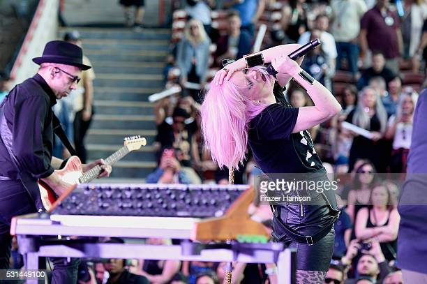 Recording artists Duke Erikson and Shirley Manson of music group Garbage perform onstage at KROQ Weenie Roast 2016 at Irvine Meadows Amphitheatre on...