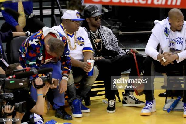 Recording artists E40 and 2 Chainz attend Game 2 of the 2017 NBA Finals at ORACLE Arena on June 4 2017 in Oakland California NOTE TO USER User...
