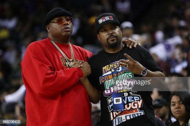 Recording artists E-40 and Ice Cube attend week three of the BIG3 three on three basketball league game at ORACLE Arena on July 6, 2018 in Oakland,...
