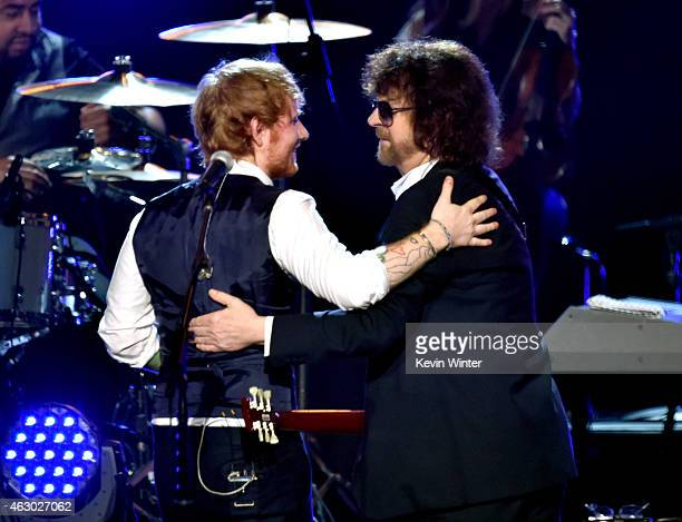 Recording artists Ed Sheeran and Jeff Lynne perform onstage during The 57th Annual GRAMMY Awards at the STAPLES Center on February 8 2015 in Los...