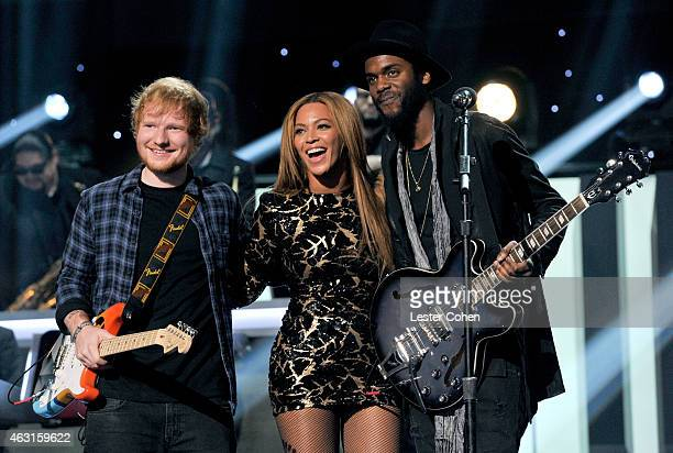 Recording artists Ed Sheeran Beyonce and Gary Clark Jr perform onstage during Stevie Wonder Songs In The Key Of Life An AllStar GRAMMY Salute at...