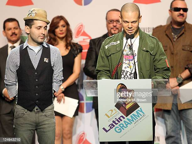 Recording artists Eduardo Cabra Martinez and Rene Joglar speak during the 12th Annual Latin GRAMMY Awards Nominations at Avalon Hollywood on...