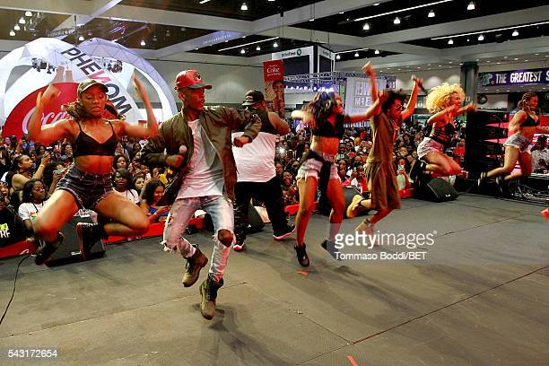 Recording artists EJ and Princeton of Mindless Behavior perform onstage at the Coke music studio during the 2016 BET Experience on June 26 2016 in...