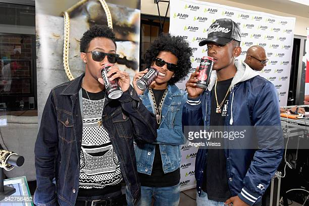 Recording artists EJ Princeton and Mike River of Mindless Behavior attend Next Level Presented By AMP Energy A Hip Hop Gaming Tournament at Rostrum...