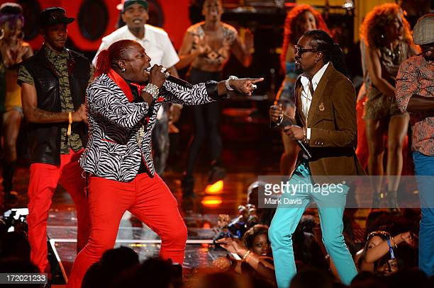 Recording artists Elephant Man and Beenie Man perform onstage during the 2013 BET Awards at Nokia Theatre LA Live on June 30 2013 in Los Angeles...