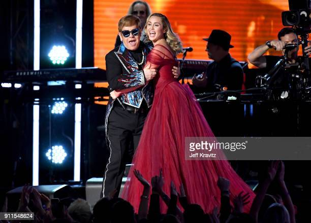Recording artists Elton John and Miley Cyrus perform onstage during the 60th Annual GRAMMY Awards at Madison Square Garden on January 28 2018 in New...