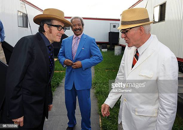 COVERAGE*** Recording Artists Elvis Costello Allen Toussaint and Steve Martin backstage at the 2010 New Orleans Jazz Heritage Festival Presented By...