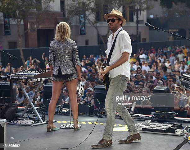 Recording artists Emily Haines and James Shaw of Metric perform on the Dylan Stage during day 1 of the 2014 Budweiser Made in America Festival at Los...