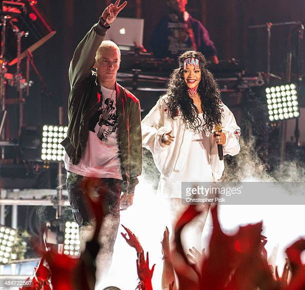 Recording artists Eminem and Rihanna perform onstage at the 2014 MTV Movie Awards at Nokia Theatre L.A. Live on April 13, 2014 in Los Angeles,...
